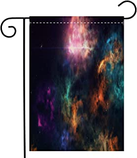 Custom Double Sided Seasonal Garden Flag High definition star field colorful night sky space Nebula and galaxies in Garden Flag Waterproof for Party Holiday Home Garden Decor, Linen 28 x 40 inch