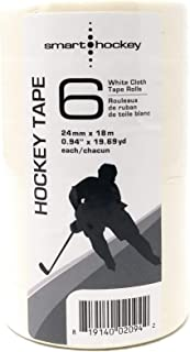 Smarthockey White Cloth Hockey Blade Tape - 6 Rolls, 1 inch Wide, 20 Yards Long, White Cloth Tape for Stick Blades and knobs
