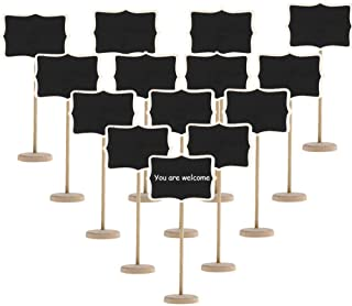 20 Pack Wood Mini Chalkboards Signs with Support Easels, Small Rectangle Chalkboards Blackboard for Message Board Signs Pa...