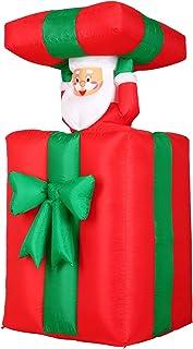 Monzana Papá Noel en paquete inflable luces de navidad decoración exterior y interior 114-152 cm rojo verde iluminación