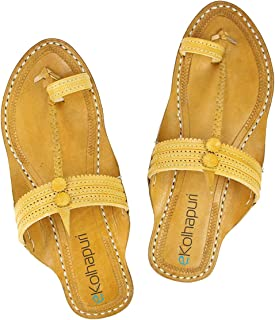 KALAPURI Womens Comfortable Cusioned Kolhapuri Chappal in Genuine Leather with Brown Pointed Shape Base and Traditional Ku...