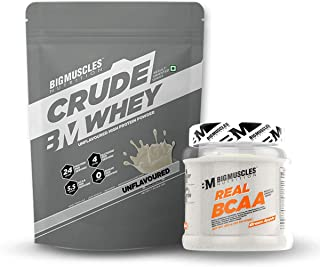 Bigmuscles Nutrition Crude Whey 1kg, Whey Protein Concentrate 80%, 24g Protein, 5.5g BCAA, 4 g Gluta & Bigmuscles Nutrition Real BCAA Green Apple 50 Serving (250 gm)