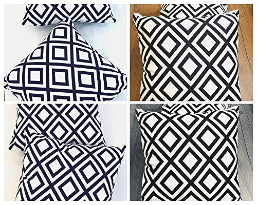 BuyElegant - Fundas de cojín cuadradas, 45 x 45 cm, diseño de líneas de terciopelo, color blanco y negro Juego de 2 unidades., terciopelo, Bw - 54804., 45 x 45 cm