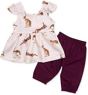 Fairy-Baby Kids Girls Sleeveless Cartoon Rabbit Cotton T-Shirt Tops+Shorts Set 2Pcs (Color : Pink, Size : 70)