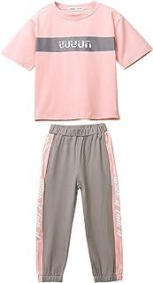 amropi Niña Verano Chándales Camiseta de Manga Corta y Pantalones 2 Piezas Conjunto de Ropa para 3-12 años