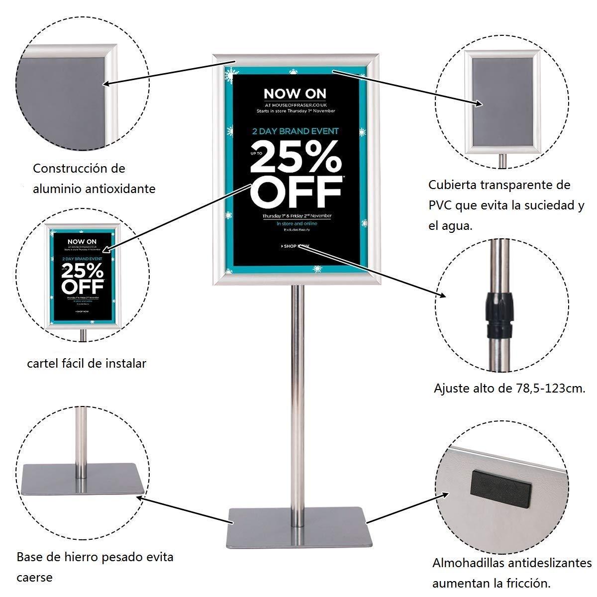 Negro COSTWAY A4 Soporte para Carteles de Metal P/óster de Men/ú Publicidad de Pie Altura Ajustable Giratorio