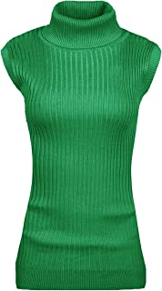 Women Sleeveless High Neck Turtleneck Stretchable Knit Sweater Top