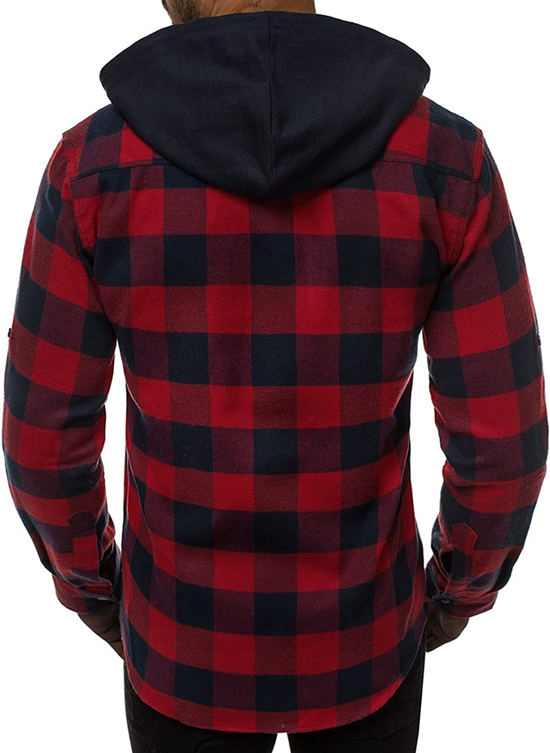 Mens Fashion Button Down Flannel Shirts Hoodies Long Sleeve Plaid Removable Hooded Sweatshirts Jackets with Pockets