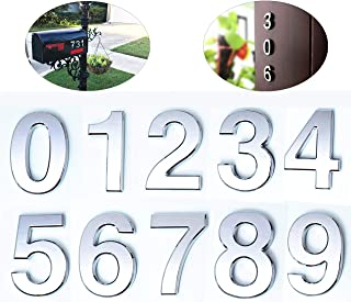 10 Pcs Mailbox Numbers 0-9, 2 Inch Door Address Number Stickers, Silver Reflective, by FANXUS.(2 inch 0-9, Silver)