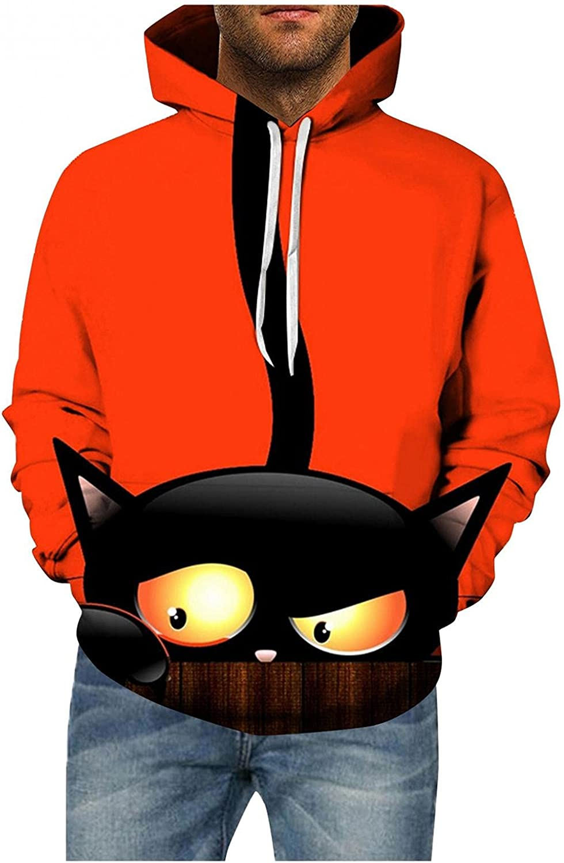 Halloween Hoodies for Men Fashion Pullover Evil Pumpkin Printed Sweatshirt Loose Long Sleeve Tops Shirts