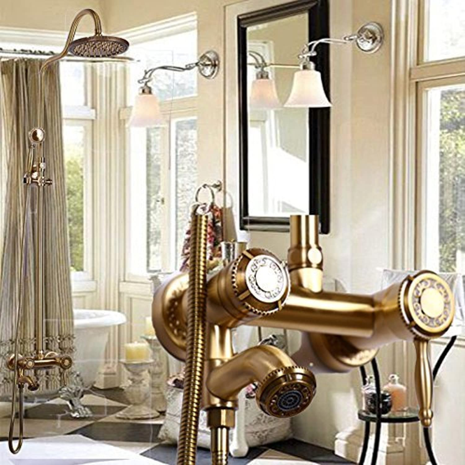 Home Bathroom Ancient Bronze Elevator European Shower Combination Sculpted Lace of Control of The Temperature of The Cold Water of The Nozzles of Scale