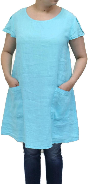 Match Point Women's Linen Ruffled Cap Sleeve Long Tunic