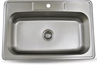 Sink Smart 33 Inch Top Mount Single Bowl Kitchen Sink Stainless Steel 18 Gauge - Satin Brush Finish