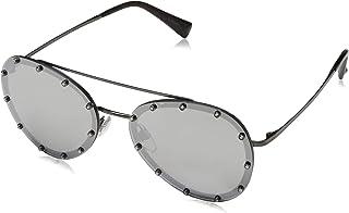 Valentino Casaul Womens Rectangular Sunglasses, Color Silver, Size 58 mm