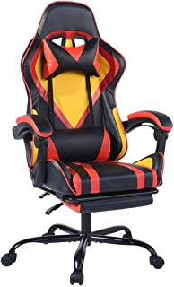 FurnitureR Gaming Recline Chair with Footrest, Office High Back Computer Task Swivel Executive Racing Chair Lumbar Support