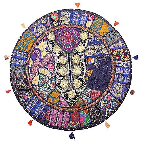 Stylo Culture Étnico Decorativo Ronda Bohemia Cojines De Suelo Infantils Gigantes Patchwork Funda De Almohada Sofa Cojines Suelo Azul Oscuro 70x70 cm Algodón Bordado Vintage Funda De Cojin