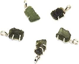 Healing Crystals India: One (1) Fine Moldavite Tektite 925 Silver Pendant from Czech Republic - 10-15 Carats