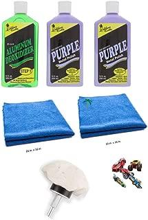 California Custom Products Purple Metal Polish/Deoxidizer Bundle with Microfiber Detailing Towels and Buffing Wheel