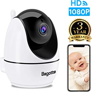 WiFi Camera, Bagotte 1080P Baby Monitor Pet Camera with 2-way audio, 360° remote viewing, Quick WiFi Setup, Indoor Camera for Dog/ Baby/ Elder/ Nanny