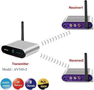 MEASY AV540-2 1x2 5.8GHz 8 Channels Wireless AV Sender Transmitter and Receiver for AV TV STB Audio Video,400M,1 Transmitt...
