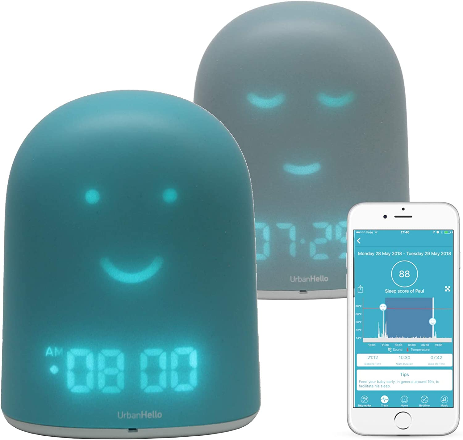 REMI - The Best Ok to Wake Children Clock - Sleep Trainer - Sleep Tracker - Audio Baby Monitor - Night Light & White Noise Sound Machine - mp3 and Streaming Music Speaker - Time-to-Rise Face - Blue
