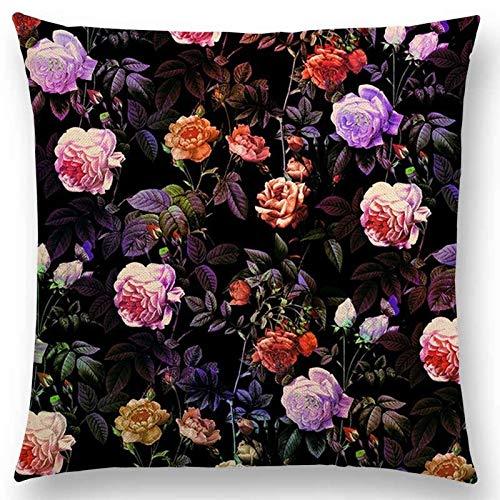 YLLAND Funda de almohada colorida cojín para decoración, impresión de jardín, flores, decoración de sofá LNNDE