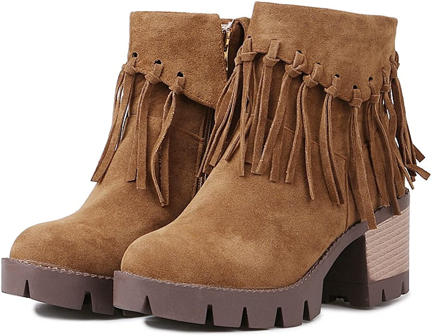 Lucksender Womens Chunky Mid Heel Zip Tassel Ankle Boots