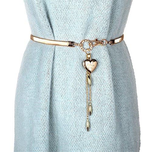 SAIBANGZI Mode Femme en métal Chaîne de Taille Ceinture de Taille élastique de la Foret élégant Lady Ceinture, Femme, Gold/English Alphabet, 68 cm