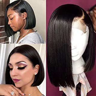 14 Inch Long Black Human Hair Wigs for Women 180% Density Straight #1B Bob Wig Brazilian Virgin Remy Hair 13×4 Middle Part Lace Front Wig Pre Plucked with Baby Hair