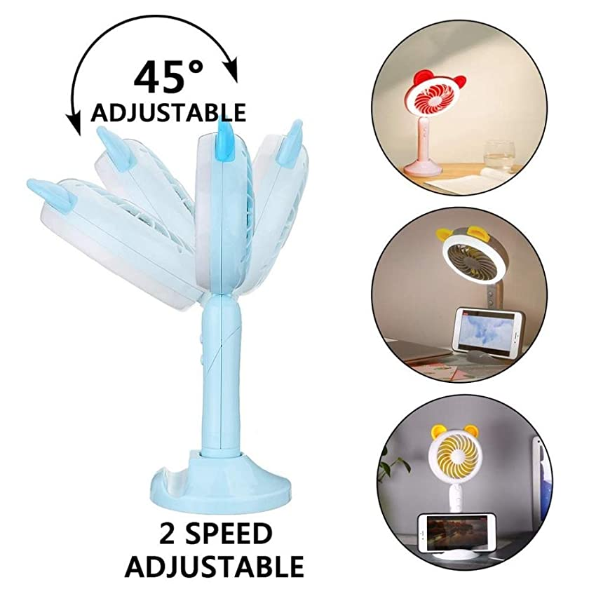 FAHGV Desk Fan 1Pcs Cartoon Bear Handheld Mini Fan USB Charger Rechargeable Portable Fan with Phone backet led Light Adjustable Cooling Fans,Blue