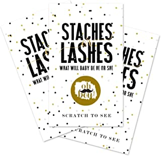 Lashes Mustaches Scratch Off Cards (30 Pack) It`s A Boy Gender Reveal Scratchers - Ticket Announcements - Party Supplies