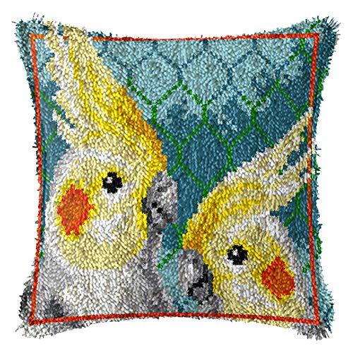 FFLOWER Latch Hook Kits DIY Cute Duck Decorative Pillowcase Embroidery Cross Stitch Arts Craft Rug for Kids Adults Beginner, 17X17inch,D
