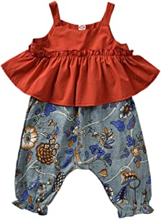 YOUNGER TREE Baby Girl Pleated Wide Leg Palazzo Pants Outfits Halter Straps Off Shoulder Floral Vest Tops 2pcs Fall Outfit