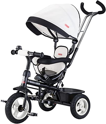 Dreir r- Kinder Trike Kinder fürrad Hand Push Kinderwagen Kind fürrad Infant Ride-On Bike (Farbe   Weiß