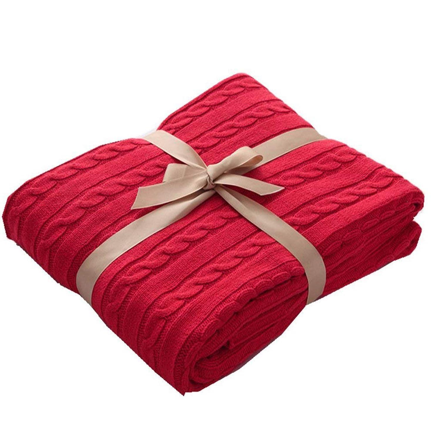 毛布 綿毛布 ソファーカバー マルチカバー ベッドカバー おしゃれ ブランケット 北欧風 綿100% 純粋綿 オールシーズン エアコン対策 大判 厚手 洗える 130x180cm (レッド, 130x180cm)