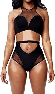 Women's Back Zip Mesh Spicy High-Waist Racer Bikini Swimwear