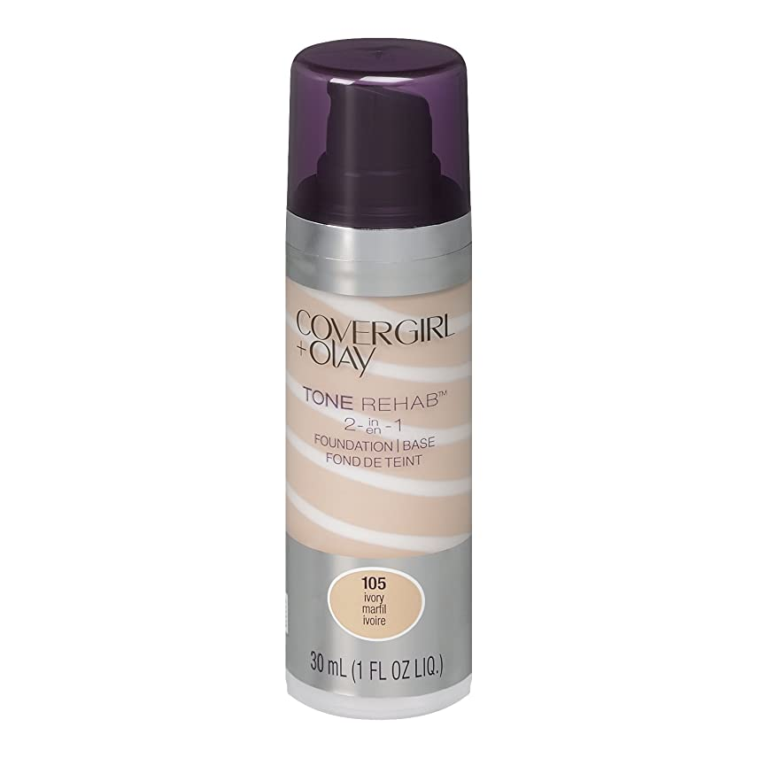 教育する振幅電話をかけるCOVERGIRL & OLAY TONE REHAB 2 IN 1 FOUNDATION + SERUM #105 IVORY