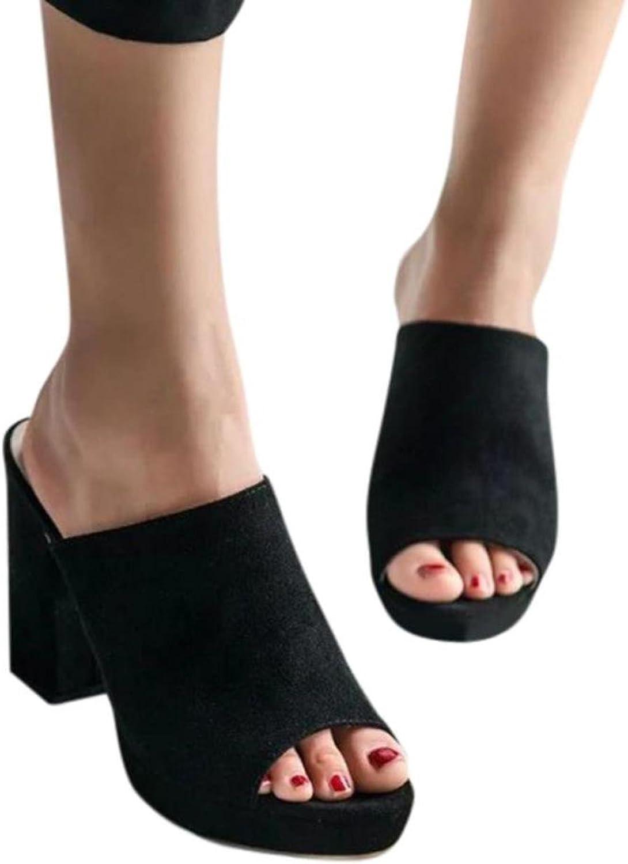 Ladies Flip Flop Women Square High Heels Slipper Sandals Fish Mouth shoes