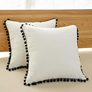 Soffta Euro Sham Covers 26 x 26 Inch Pompom Throw Pillow Covers Pack of 2 Vintage Ethnic 100% Washed Cotton Throw Pillows Cushion Cover White and Black