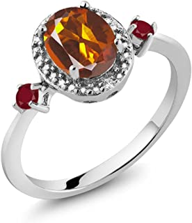 1.35 Ct Oval Orange Red Madeira Citrine Red Ruby 925 Sterling Silver Ring With Accent Diamond