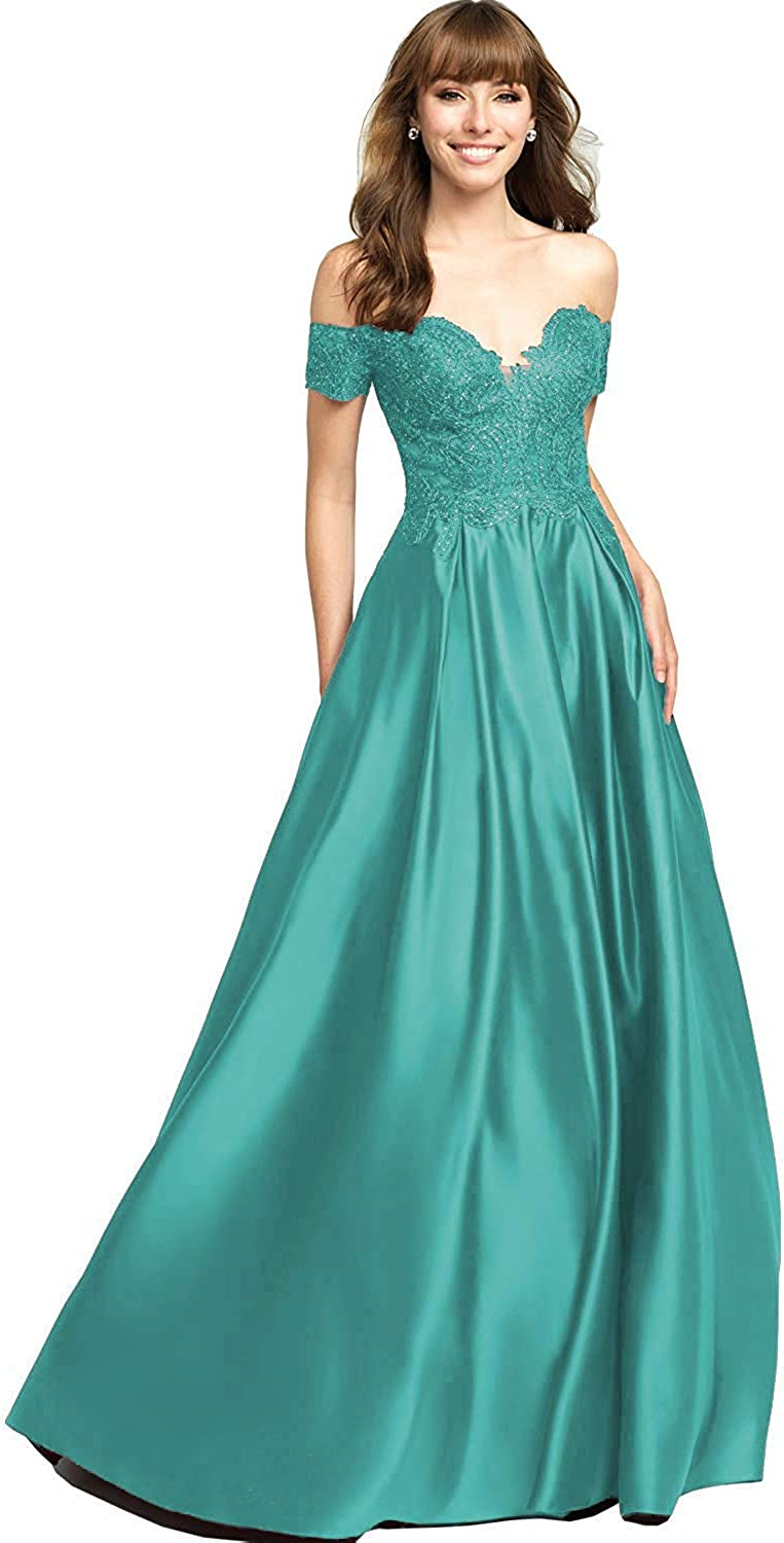 Women's Off The Shoulder Short Sleeves Lace Satin Beaded Prom Dress 2019 Long Formal Evening Gowns