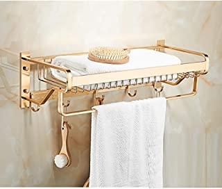カテゴリー 壁に取り付けられたバスルーム用の棚とフック付きタオルラック、バスルームホテル用スペースアルミタオルバーラックオーガナイザー56.5 x22.5x16.5cm(Color:ゴールド)