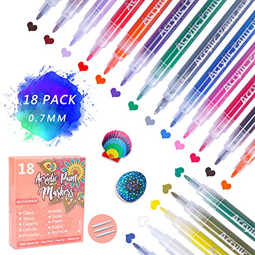 18 Colores Rotuladores de Pintura Acrílica, 0.7 mm Rotulado