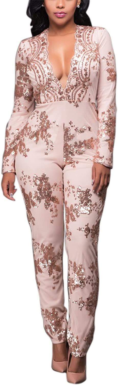 Engood Women's Sexy Long Sleeve Sequins Deep VNeck Long Wide Leg Pants Jumpsuits Rompers Champagne