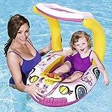 Kiddiecar Bestway Bateau gonflable pour enfants Ride sur la plage de natation piscine gonflable jouet Lilo flotteur avec pare-soleil Coque UPF50+, Princess Car