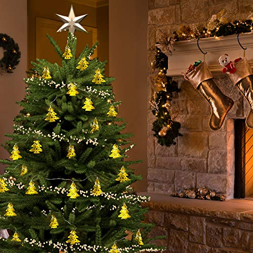 Holiday Decorative String Lights by Gideon 20 LED Solar Powered Hollow Metal Tree Shape Fairy Lights for the Holidays and Christmas Decorations Great for House Parties - Indoor and Outdoor Decorations