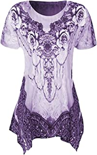 MK988 Women Short-Sleeve Casual Floral Print Loose Fit Irregular Top T-Shirt Blouse