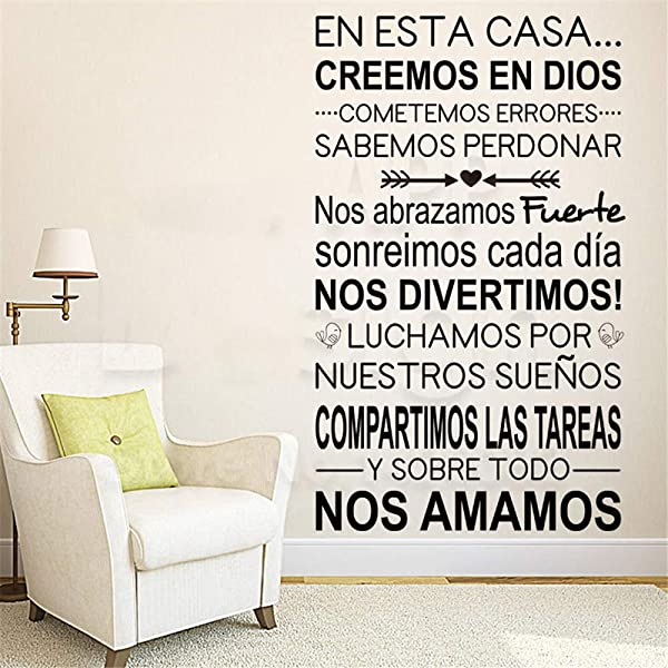 Oifes Vinyl Wall Art Inspirational Quotes And Saying Home Decor Decal Sticker Art Home Decor Spanish Home Rules Words Colorful House Decoration Family Quote Room Decals