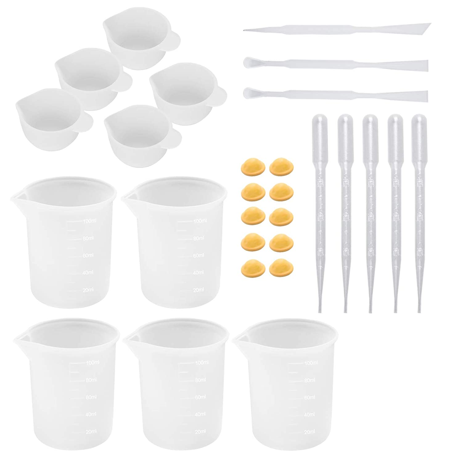 28 Pieces Silicone Cups and Tools Set Silicone Measuring Cups Mixing Cups Glue Tools Sticks Spoons Finger Cots Droppers for Epoxy Resin Casting Molds Slime Art Waxing