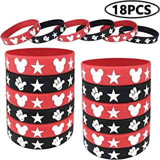 18 Pieces Mickey Mouse Rubber Bracelets, Silicone Bracelet Wristbands Red and Black Bracelet Birthday Party Theme Supplies for Kids, Teens, Adults